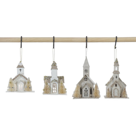 Paper Church Ornaments with Faux Trees