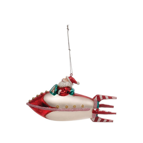 Hand-Painted Glass Santa in Rocket Ornament