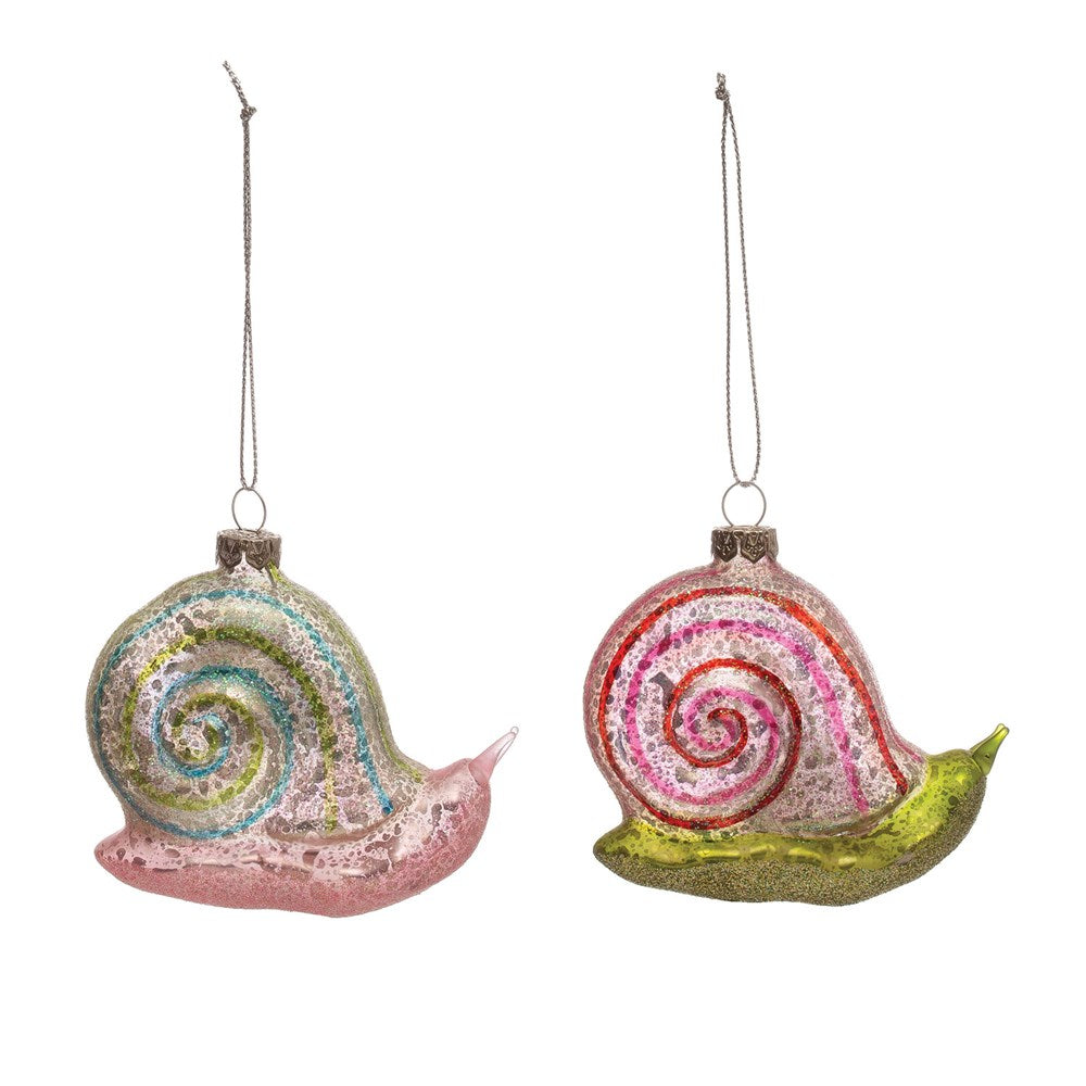 Hand-Painted Glass Snail Ornament