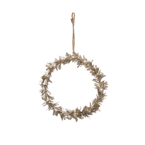 Champagne Finished Round Wreath Ornament