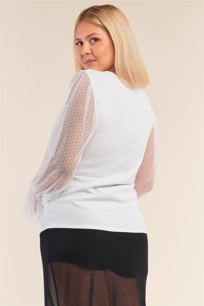 Relaxed Fit Polka Dot Mesh Balloon Sleeve Top
