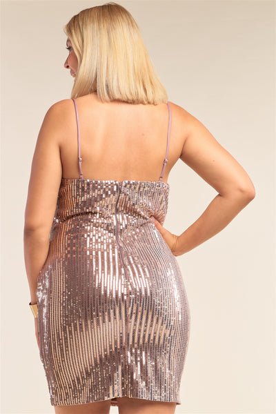 Mocha Blush Velvet Sequin  Mini Dress