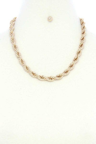 Twist Chain Simple Short Metal Necklace Earring Set