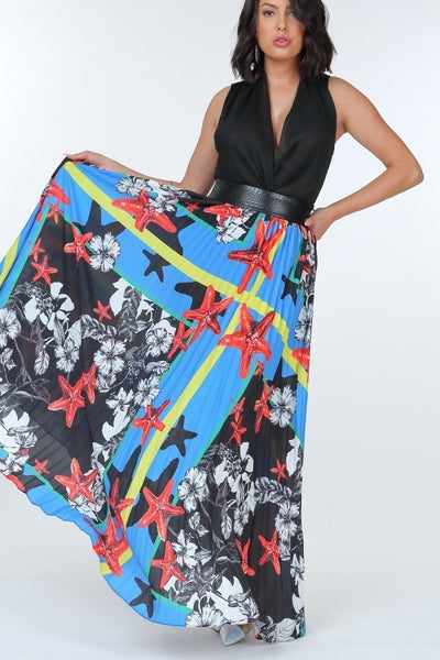 Pleated Print Maxi Skirt With Leather Waist Band