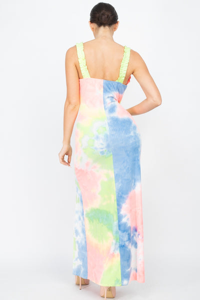 Tie-dye Ruffled Ribbed Maxi Dress