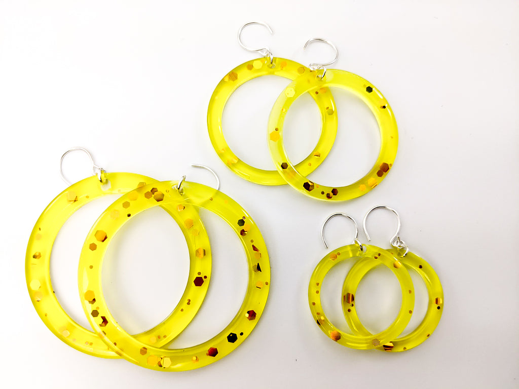 "Honey Hoops *Large/ 1 pair 2.25"" ring"