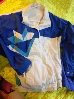 Vintage 90's Adidas Windbreaker with geometric design bright blue and white color block