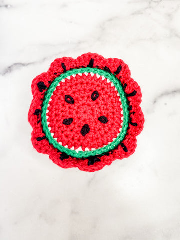 Watermelon Knit Coasters