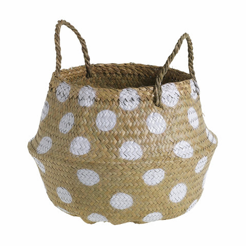 Pom Puff Basket in Polka Dots