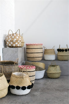 Pom Puff Basket in Black/ White