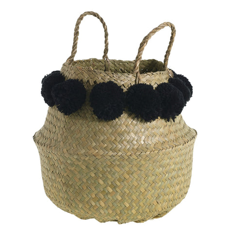 Pom Puff Basket in Black/ Natural