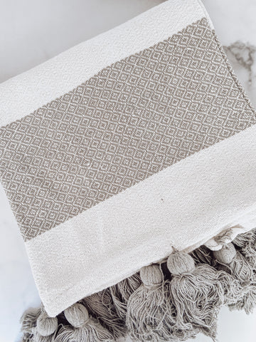 Gray & White Striped Tassel Throw Blanket - Brandt's Home Decor