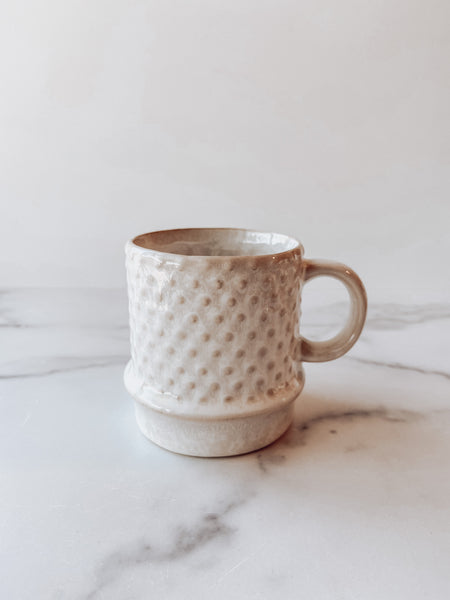 Stoneware Mug with Hobnail Pattern