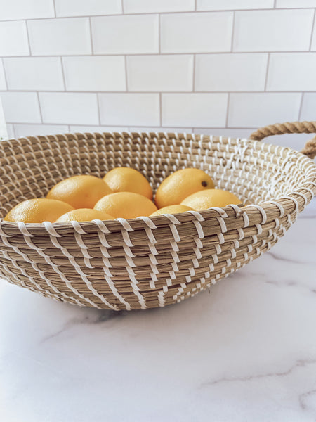Woven Seagrass Basket with Handles - Brandt's Home Decor