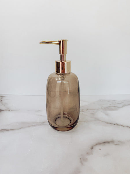 Glass Soap Dispenser with Pump in Grey