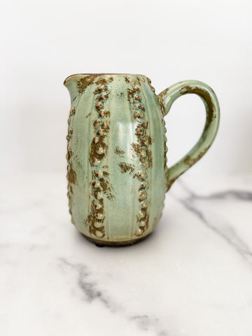 Cactus Pitcher-Style Vase in Green - Brandt's Home Decor