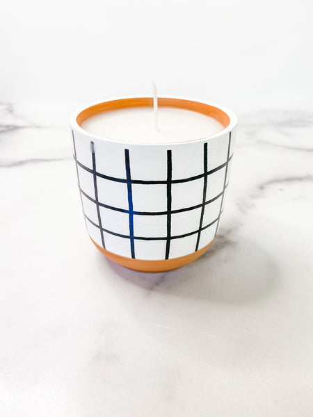 Black & White Checked Citronella Candle
