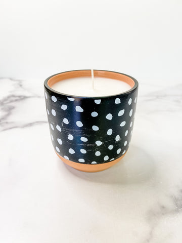 Black & White Dotted Citronella Candle