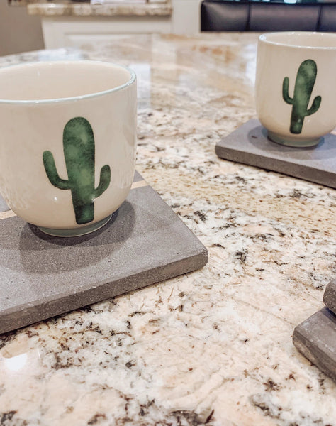 Stoneware Jade Cup with Cactus (sold individually) - Brandt's Home Decor