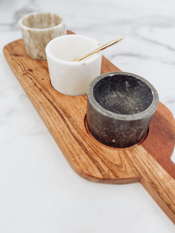 Acacia Wood Board with 3 Marble Pinch Pots & Brass Spoon - Brandt's Home Decor