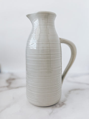 Stoneware Pitcher Light Gray - Brandt's Home Decor