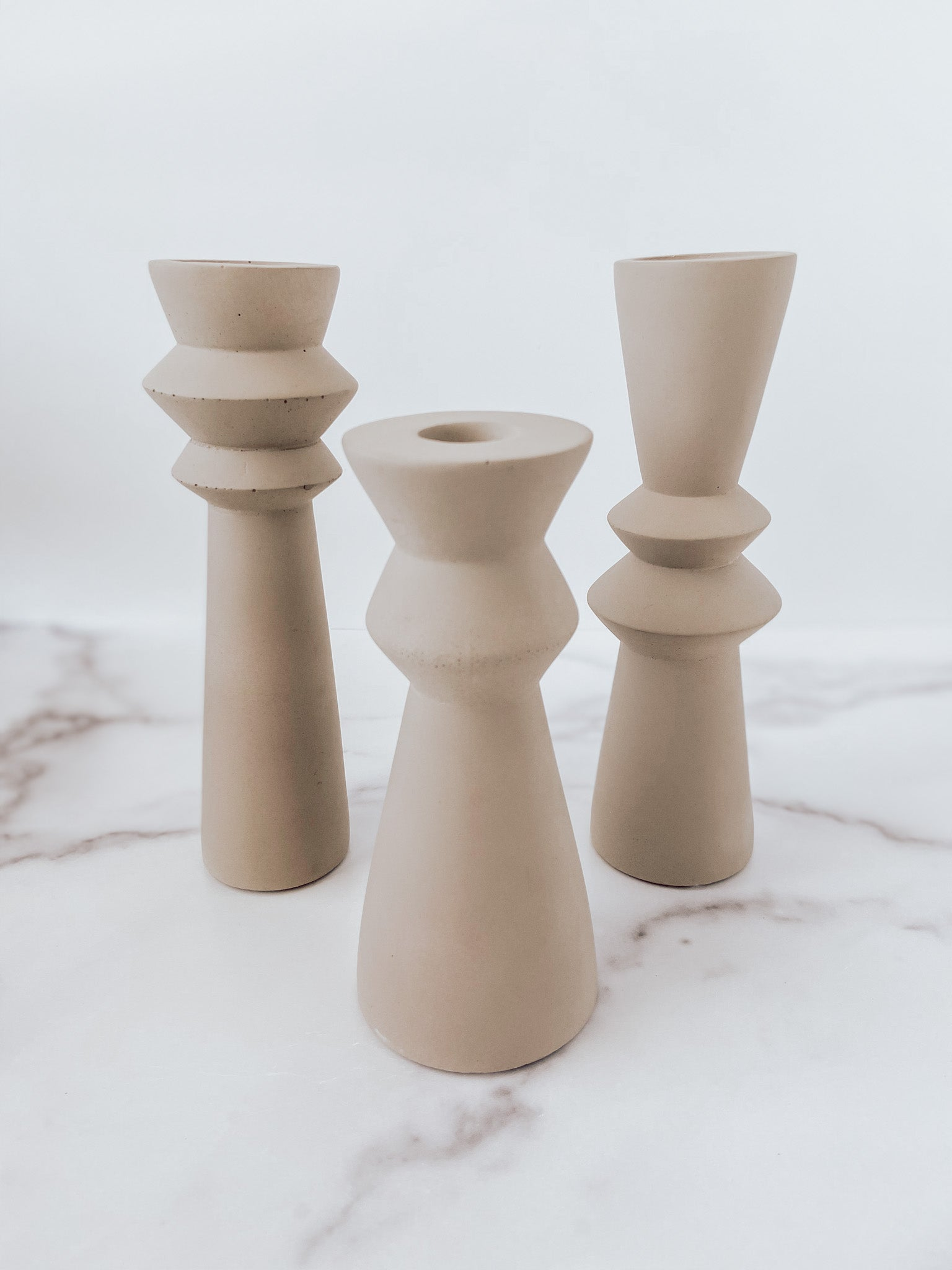 Cement Taper Candle Holder Set (set of 3) - Brandt's Home Decor