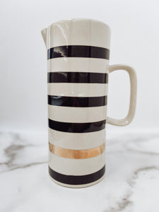 Stoneware Pitcher & Black Striped w/ Gold Electroplating - Brandt's Home Decor