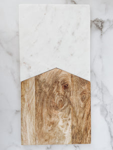 White Marble & Wood Two Piece Board - Brandt's Home Decor