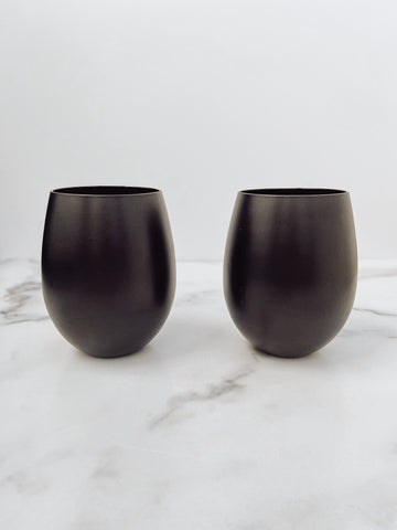 Stemless Wine Glasses in Matte Black (set of 2) - Brandt's Home Decor
