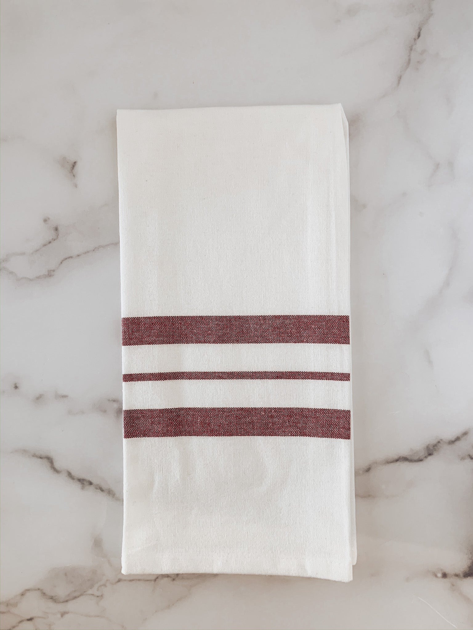 Red Horizontal Stripe Cotton Dish Towel - Brandt's Home Decor