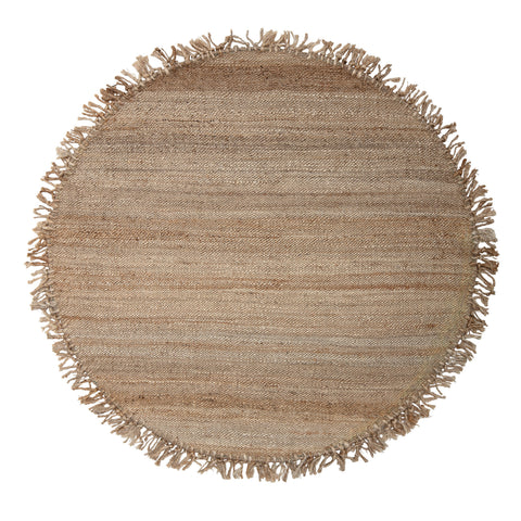 4' Round Handwoven Brown Jute Rug with Fringe