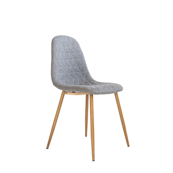 Grey Upholstered Chair with Diamond Stitching & Oak Finished Metal Legs