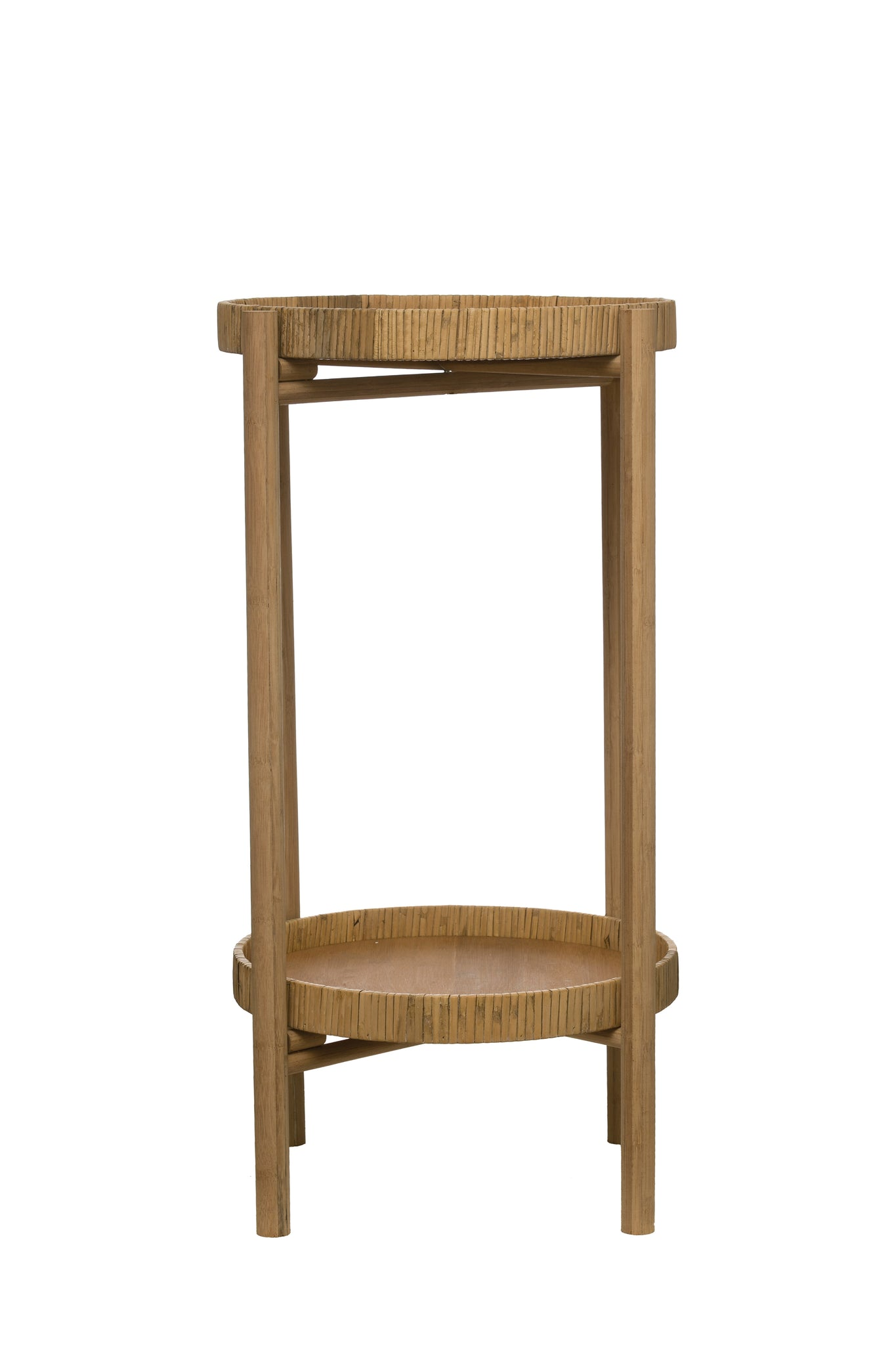"15.75"" Round Rattan & Bamboo 2-Tier Tray Table with Removable Trays & Wood Frame"