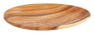 "15.5"" Long Egg-Shaped Carved Acacia Wood Serving Platter"