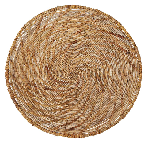"24.75"" Round Handwoven Banana Bark & Water Hyacinth Basket Wall Décor"