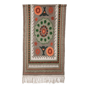 "65""H Cotton Suzani Wall Hanging with Floral & Geometric Designs, Fringe & 2 Metal Sawtooth Hangers"