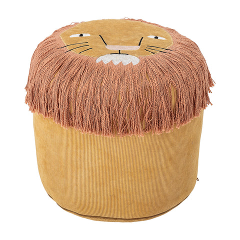 Lion's Face Mustard Yellow Cotton Corduroy Pouf with Embroidered Face & Long Fringe
