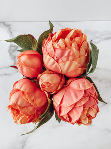Blushing Peony Faux Bouquet (Orange) - Brandt's Home Decor