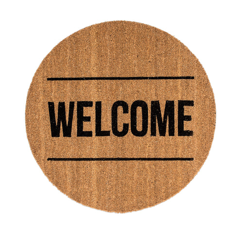 "Round Coir ""Welcome"" Doormat"