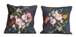 Square Cotton Floral Printed & Embroidered Pillow (Set of 2 Styles)