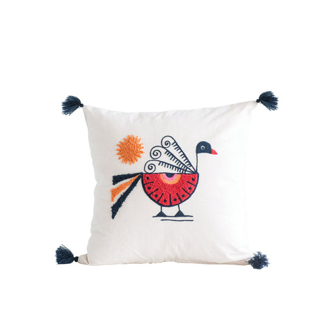 Square Cotton Pillow with Embroidered Peacock, Orange Sun & Corner Tassels