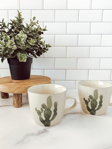 Stoneware Jade Mug with Cactus (sold individually) - Brandt's Home Decor