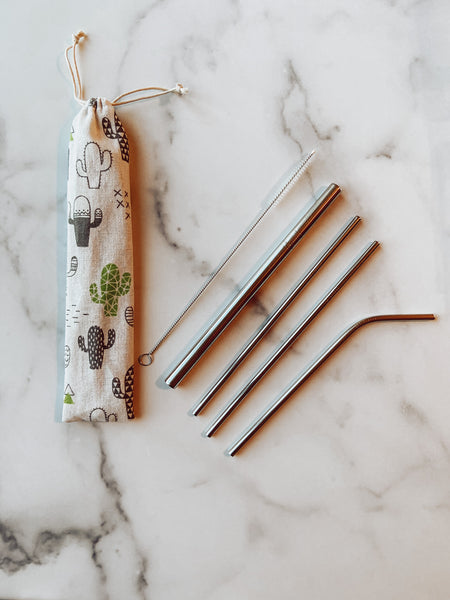 Cactus Reusable Straw Set - Brandt's Home Decor