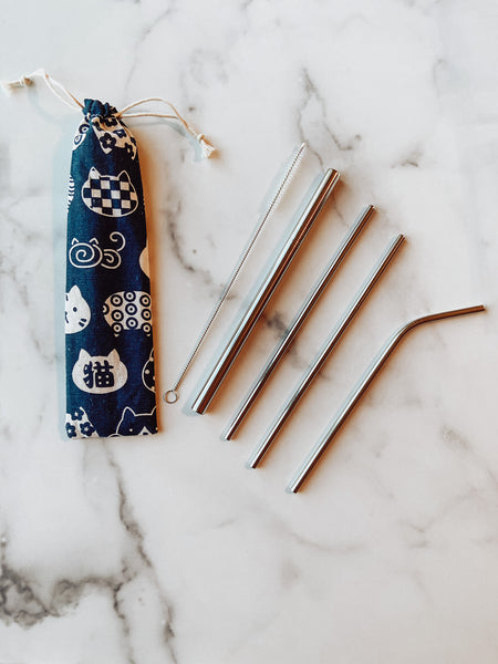 Cats Reusable Straw Set - Brandt's Home Decor