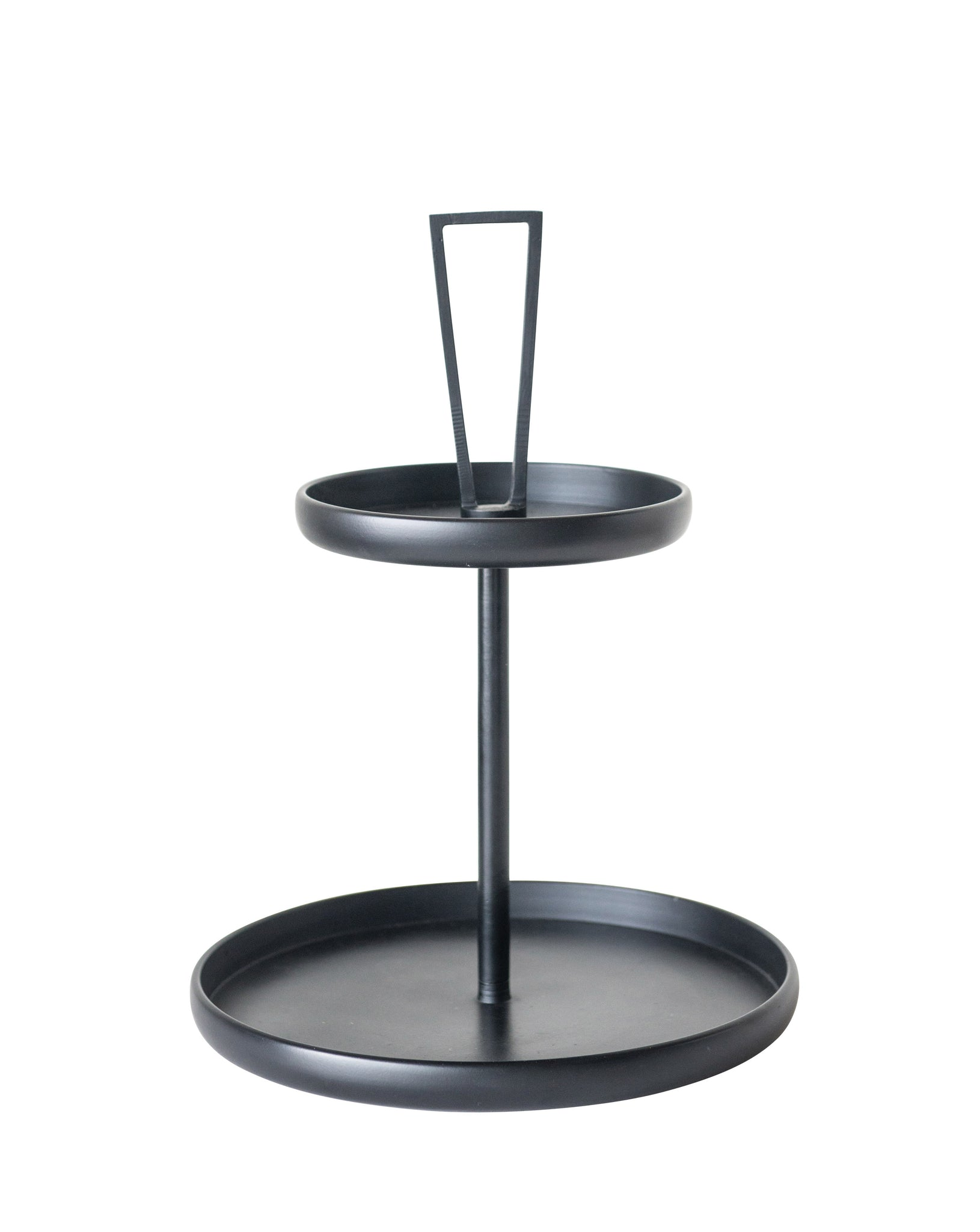 Decorative Black Metal 2-Tier Round Tray