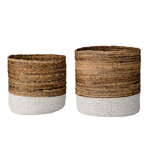 Set of 2 Brown & White Raffia and Banana Leaf Baskets