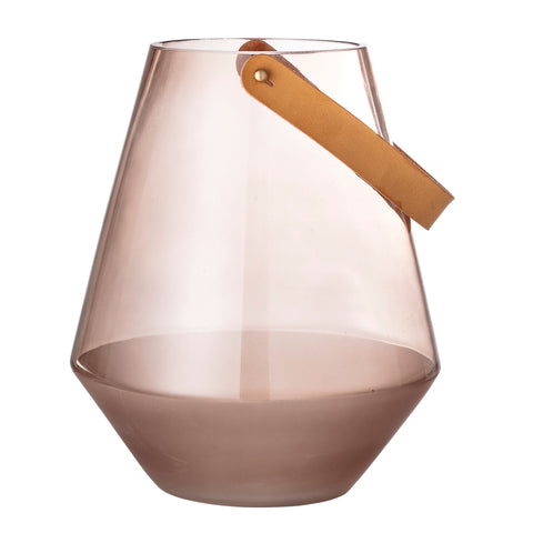 Large Transparent Brown Glass Vase with Handle