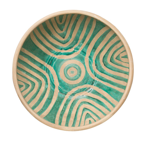 Decorative Terracotta Bowl with Geometric Patterns
