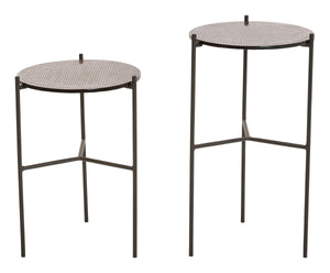 "7""H & 8.75""H Round Metal Plant Stands/Accent Tables with Glass Tops (Set of 2 Sizes)"