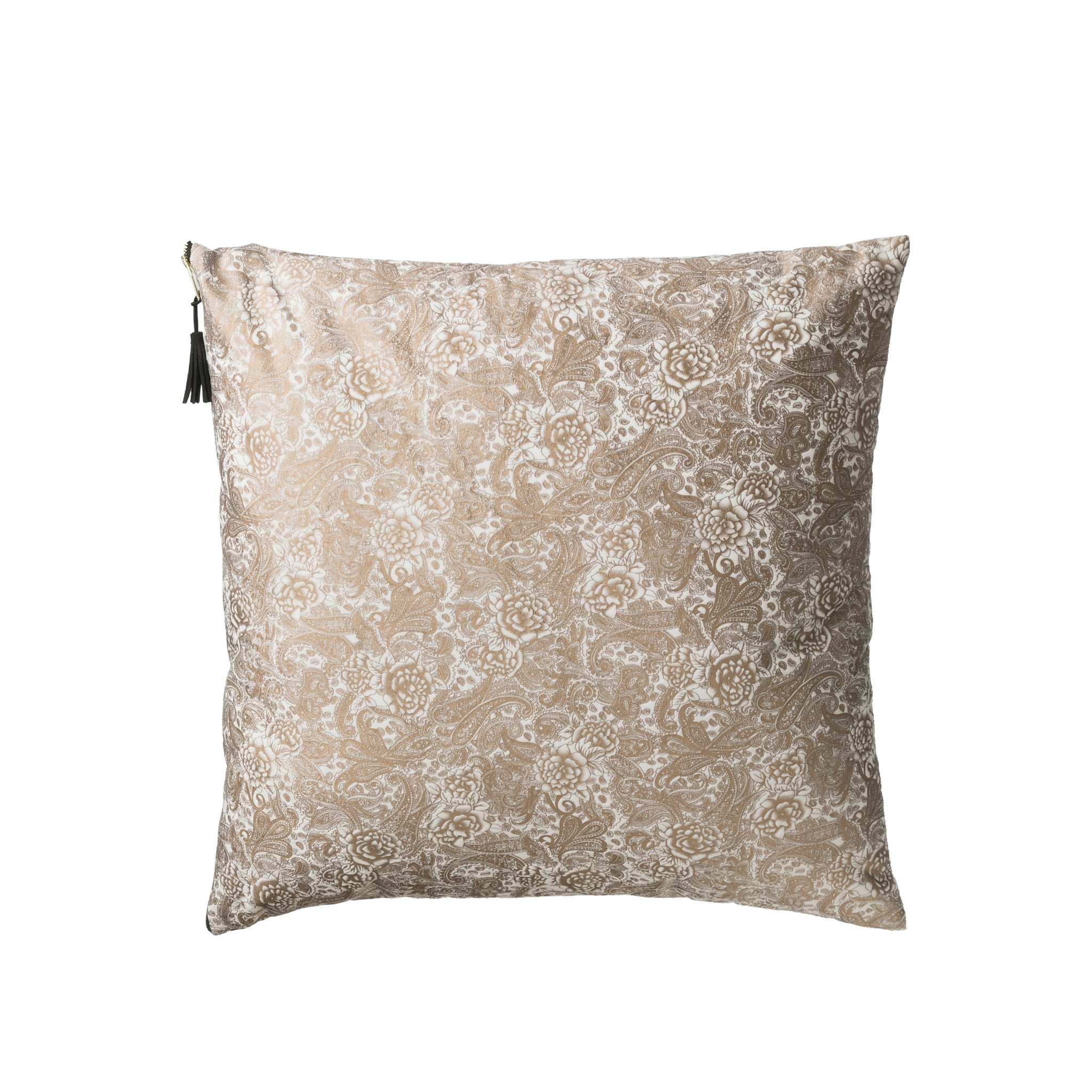 "24"" Square Polyester Pillow with Floral Tole Pattern & Tassel Accent"